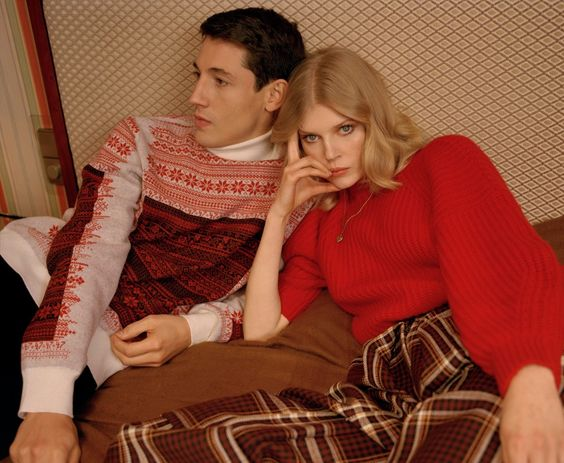 Nicolas Ripoll wears a knitted sweater, Dior Homme. Black velvet pants, Fendi. Ola Rudnicka wears red cashmere sweater, Claudia Schiffer. Gold chain and heart locket pendant, Dary's. Plaid wool pants, Aalto. Photography by Vicki King. Styling by Kerry Dorney. Hair by Alexandry Costa.
