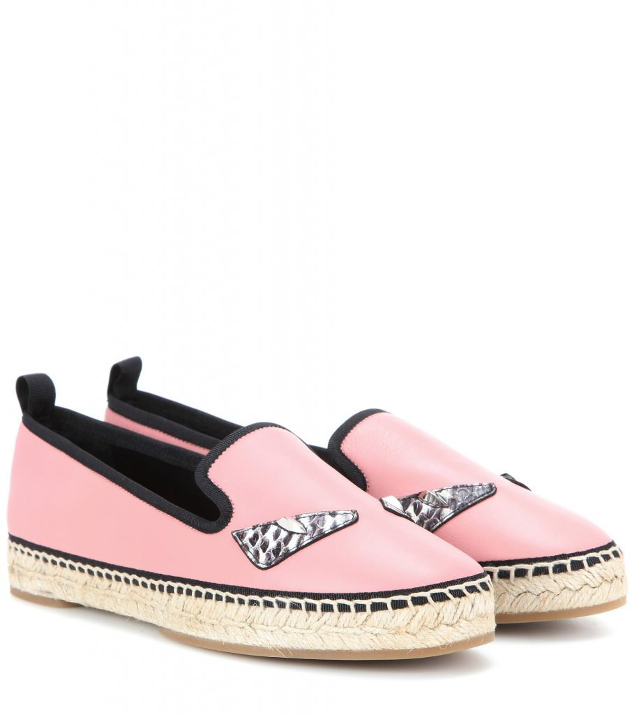 FENDI Slipper espadrillas in pelle