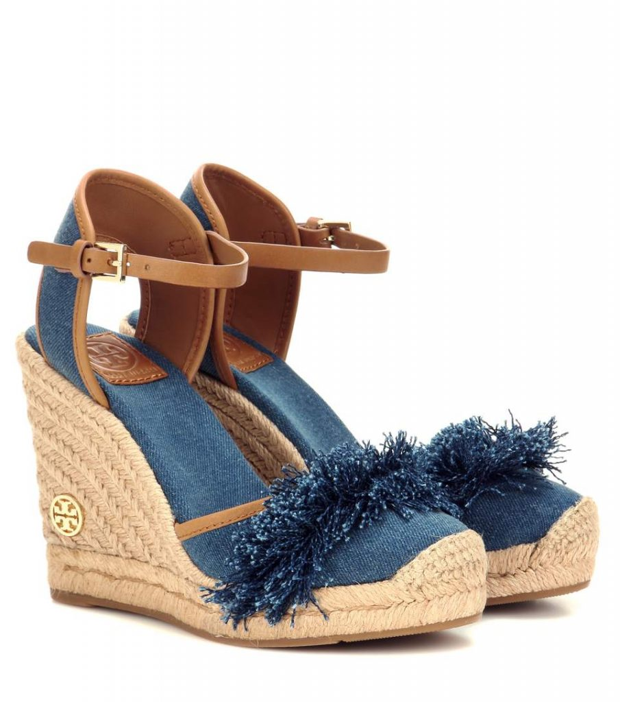 TORY BURCH Espadrillas Shaw 90 in denim con zeppa