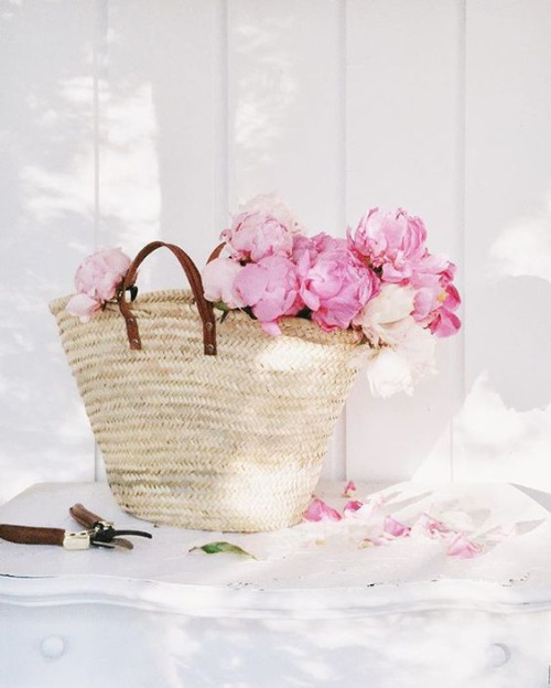 basket and peonies Sunday