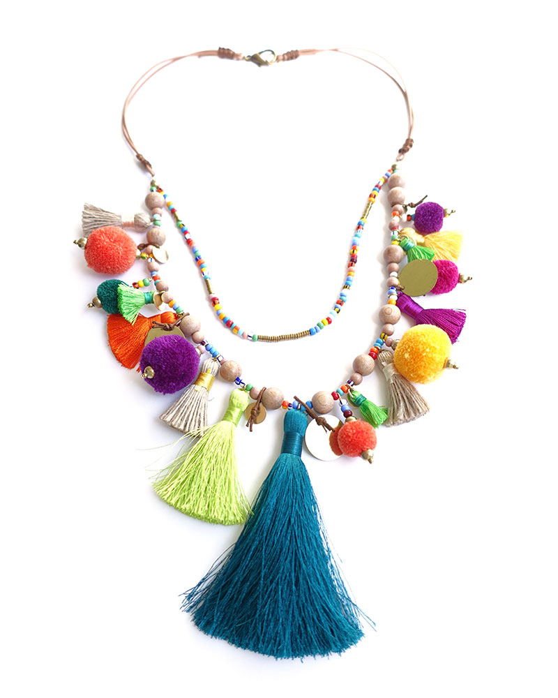 Collana etnica con pompom e nappine di April Soderstrom Jewelry