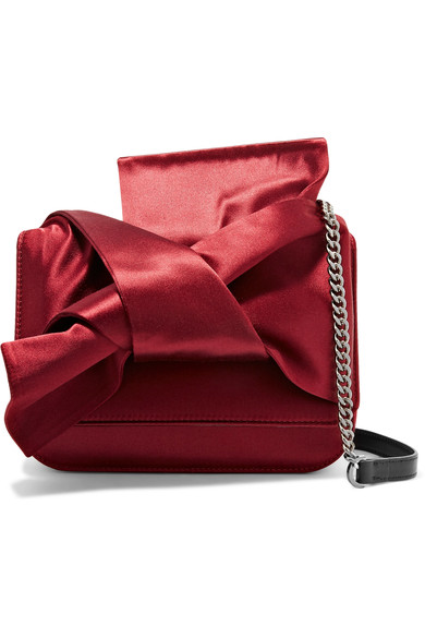 N°21 borsa bow in satin e pelle