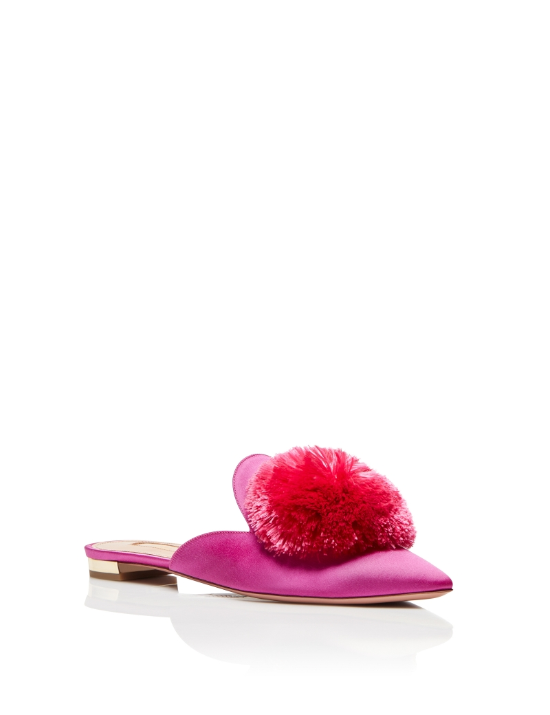 AQUAZZURA Esclusiva per mytheresa.com - Slippers Powder Puff in velluto